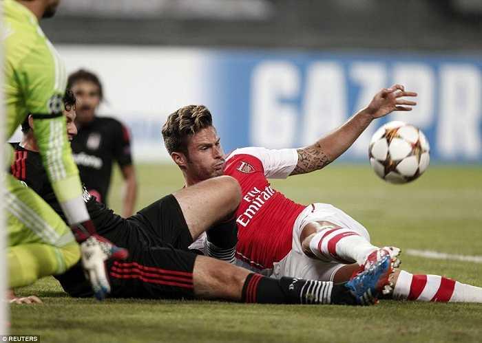 Oliver Giroud thi đấu mờ nhạt trong trận Arsenal gặp Besiktas