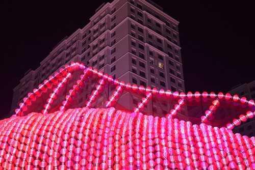 Tác phẩm được kết thành từ hơn 5.000 đèn lồng nhỏ, bên trong là 5.000 bóng đèn led lung linh với các lập trình độc đáo về ánh sáng.