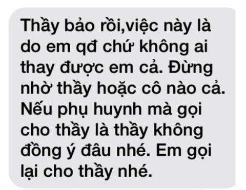 Tin nhắn được cho là của thầy Lợi gửi cho nữ sinh.