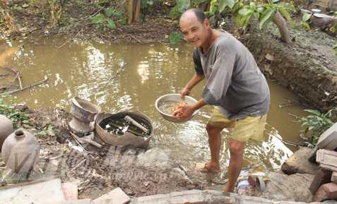Thi thoảng vợ, con, bạn thơ lại mua cá, thả xuống vũng nước trước nhà, để nhà thơ Nguyễn Đăng Hành bắt ăn dần. Ảnh: Dương Phạm Ngọc