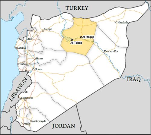 Vị trí thành phố Raqqa. Đồ họa:understandingwar.org.