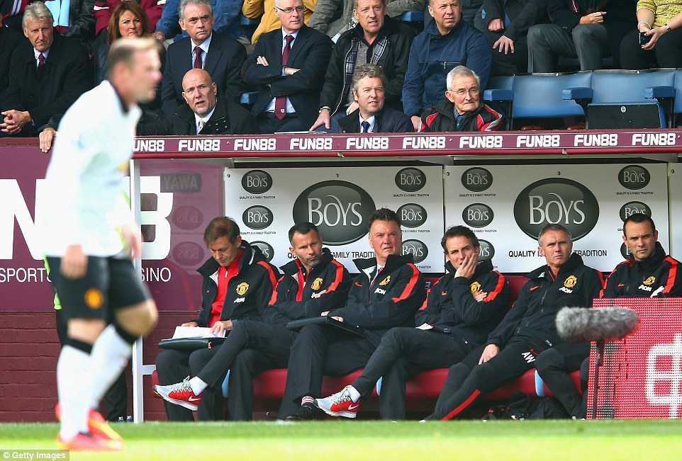 Vẻ mặt thất vọng của Van Gaal trên băng ghế huấn luyện