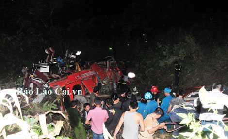 Hiện trường vụ tai nạn (Ảnh: Báo Lào Cai)