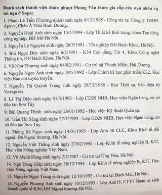 Danh sách 16 thành viên nhóm vượt Phong Vân tham gia cứu nạn.