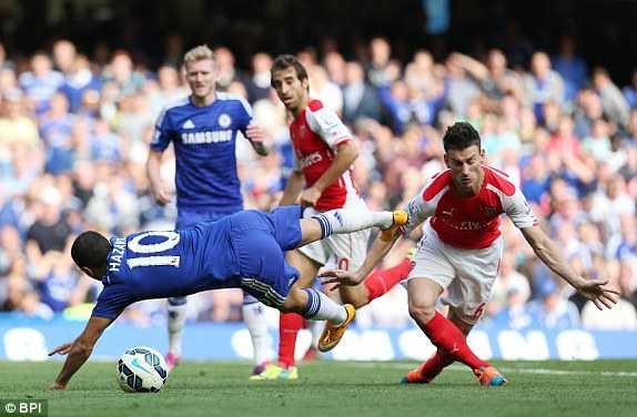 Tình huống phạm lỗi của Koscielny với Hazard