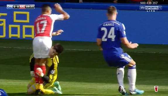 Courtois gặp nguy hiểm sau pha va chạm cực mạnh với Sanchez