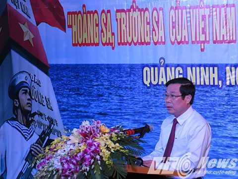 Bộ trưởng Bộ Thông tin và Truyền thông Nguyễn Bắc Son phát biểu khai mạc tại buổi triển lãm - Ảnh MK