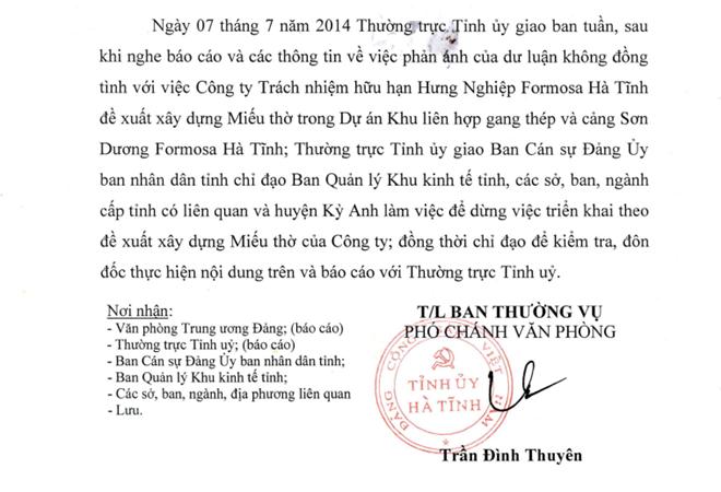 Một phần Thông báo của Tỉnh ủy Hà Tĩnh không đồng ý Formosa xây miếu thờ.