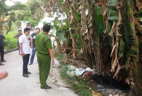 Bụi chuối nơi thi thể người phụ nữ được phát hiện bị đốt cháy