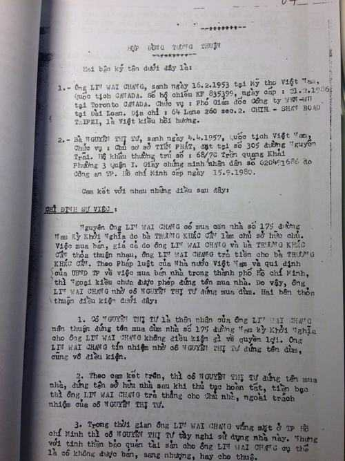 """""""Hợp đồng tương thuận"""" ngày 22/2/1989, được công chứng chứng thực hợp pháp tại phòng công chứng nhà nước TP Hồ Chí Minh. Đến nay chưa có văn bản nào của cả hai bên xin hủy bỏ hợp đồng này"""