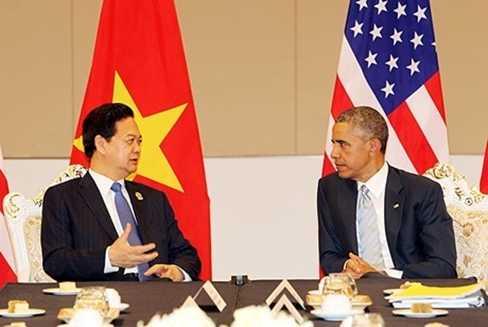 Thủ tướng Nguyễn Tấn Dũng và Tổng thống Hoa Kỳ Barack Obama trong cuộc tiếp xúc song phương chính thức ngày 13/11/2014 tại Myanmar