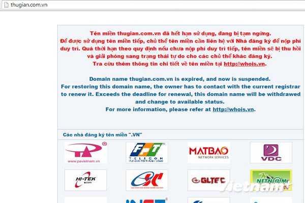 Giao diện website thugian.com.vn sau khi có quyết định thu hồi của cơ quan chức năng. (Ảnh chụp màn hình: Vietnam+)
