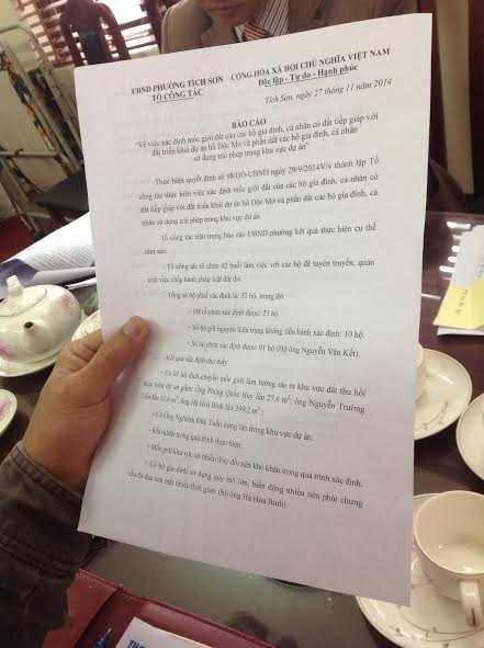 Ông Nguyễn Ngọc Hà, Chủ tịch UBND phường Tích Sơn (TP Vĩnh Yên, tỉnh Vĩnh Phúc) cho biết, vụ việc này sẽ được báo cáo lên UBND TP Vĩnh Yên để xin ý kiến chỉ đạo