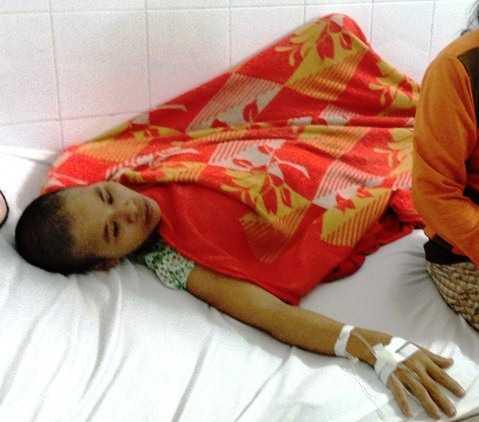 Chị Nguyễn Thị Bé Đào đang trong tình trạng bệnh rất nặng khi công an đến nhà lấy lời khai