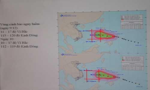 Vùng cảnh báo nguy hiểm khi siêu bão Hagupit tiến vào Biển Đông