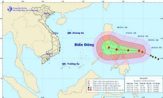 Vị trí và đường đi của bão Hagupit.