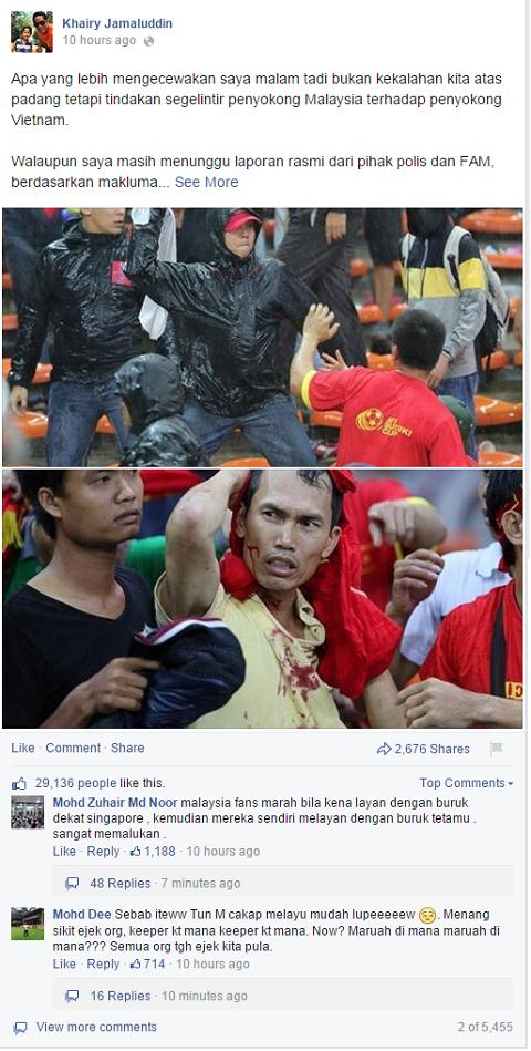Bộ trưởng Thanh niên và Thể thao Malaysia - Khairy Jamaluddin gửi lời xin lỗi trên facebook cá nhân.