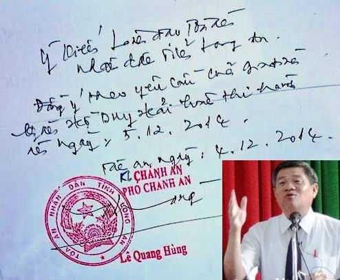 Phó Chánh án TAND tỉnh Long An Lê Quang Hùng (ảnh) và bút phê của ông trong đơn kêu oan gia đình tử tù Hồ Duy Hải. Ảnh: Phan Cường