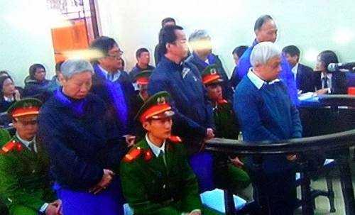 Bị cáo Nguyễn Đức Kiên và đồng phạm tại phiên tòa phúc thẩm