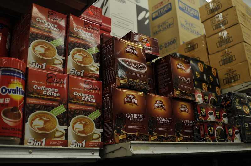 Sản phẩm Trung Nguyên có mặt tại siêu thị miền Đông nước Mỹ, (Ảnh: Võ Văn Quang)