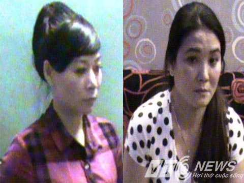 Nguyễn Thị Thanh Hồng (bên trái) và Nguyễn Thị Phước tại cơ quan điều tra