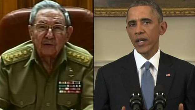 Chủ tịch Cuba Raul Castro (trái) và Tổng thống Mỹ Obama cùng tuyên bố bình thường hóa quan hệ ngoại giao vào ngày 17/12/2014