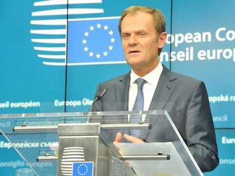 Chủ tịch Hội đồng châu Âu Donald Tusk tại buổi họp báo kết thúc hội nghị Thượng đỉnh mùa Đông