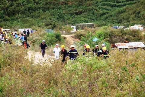 Triển khai lực lượng diễn tập chiều ngày 19/12 tại khu vực thủy điện Đạ Dâng(Lâm Đồng). Ảnh: Thanh Phương
