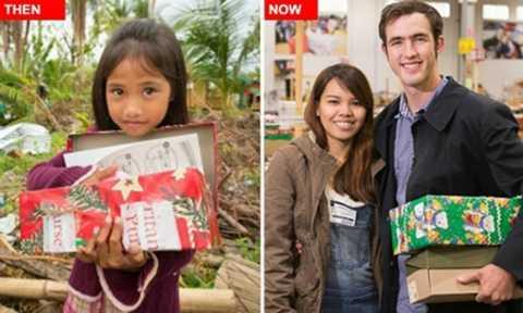Cô bé Joana với món quà 14 năm trước, giờ đây hạnh phúc bên người chồng từ nửa vòng trái đất