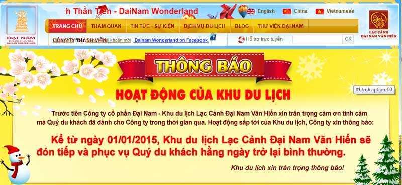 Thông tin đăng tải trên website của Lạc cảnh Đại Nam