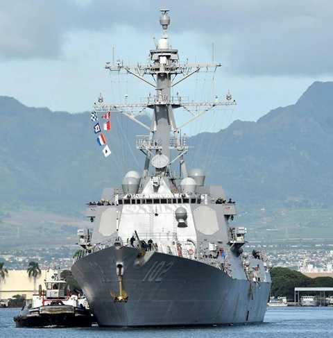 Tàu khu trục Mỹ USS Sampson săn tìm máy bay mất tích QZ8501