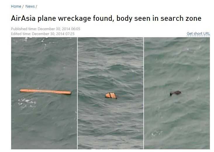 RT đưa tin tìm thấy thi thể người và các mảnh vỡ là từ máy bay của AirAsia