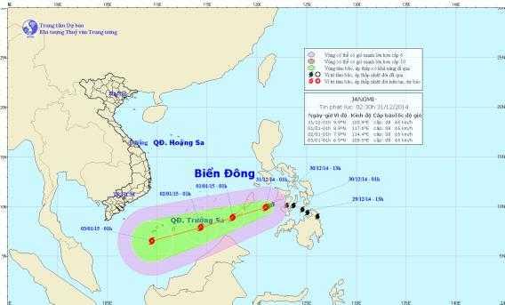 Vị trí và hướng đi của bão Jangmi - Ảnh: Trung tâm Khí tượng thuỷ văn