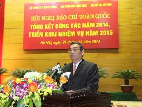 Đồng chí Lê Hồng Anh phát biểu tại Hội nghị báo chí toàn quốc sáng 31/12 ở Hà Nội.