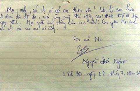 Lá thư cuối gửi gia đình của Nguyễn Đức Nghĩa