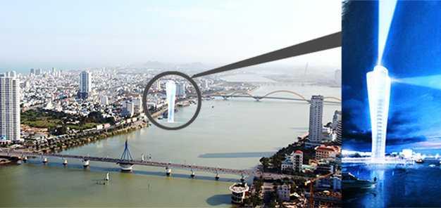 Tháp hải đăng (ảnh phải) và vị trí dự kiến được xây ở mép sông Hàn, cách bờ kè đường Trần Hưng Đạo (Q.Sơn Trà) khoảng 30m - Ảnh: Phan Thành