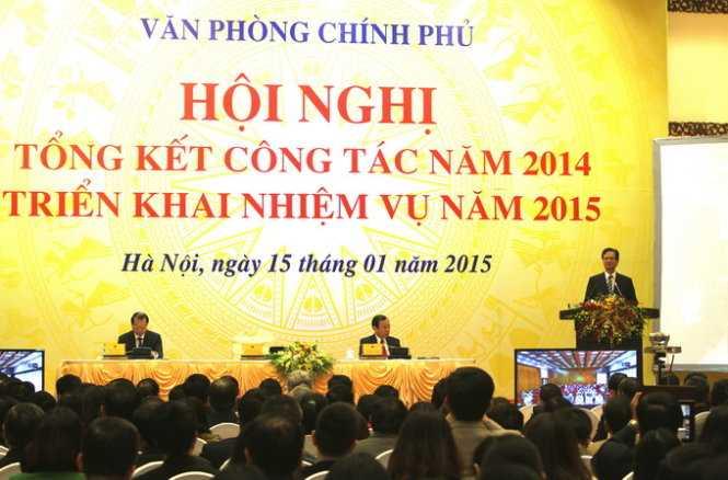 Hội nghị tổng kết công tác năm 2014, triển khai nhiệm vu năm 2015 của Văn phòng Chính phủ - Ảnh: V.V.T