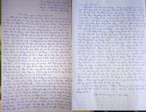 Bức thư đoạt giải nhất trong cuộc thi viết về Hoàng Sa của em Hoàng Ngọc Diễm, học sinh lớp 7/4 trường THCS Lê Thánh Tôn