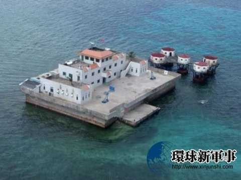 Điểm đóng quân trái phép của Trung Quốc ở đá Chữ Thập thuộc chủ quyền Việt Nam - Ảnh: Sohu
