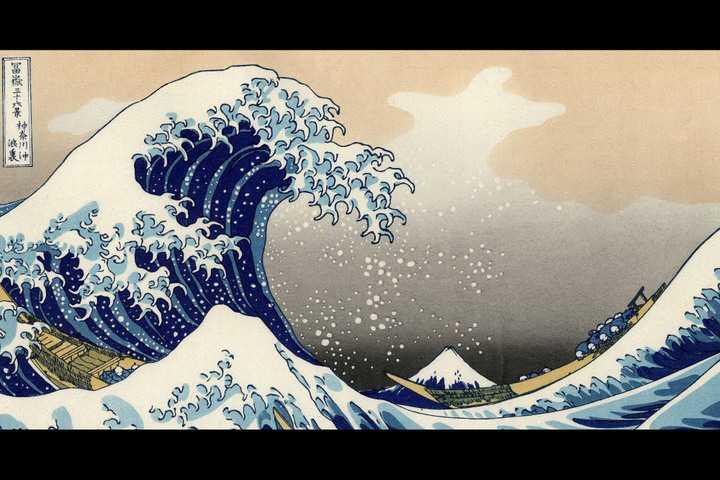 Bức hoạ Tsuname của hoạ sỹ Hokusai
