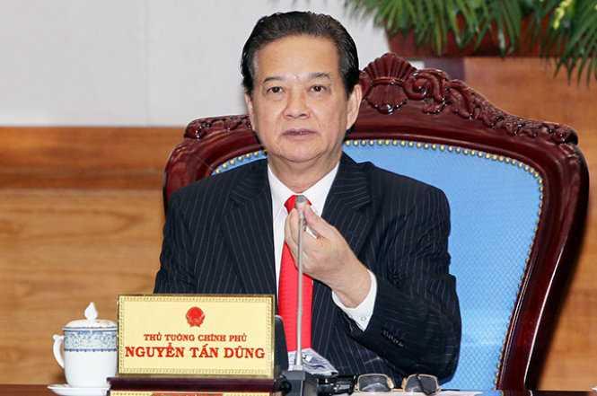Thủ tướng Nguyễn Tấn Dũng phát biểu tại phiên họp Chính phủ thường kỳ tháng 1-2015 - Ảnh: TTXVN