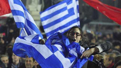 Người dân Hy Lạp ăn mừng tân Thủ tướng Alexis Tsipras đắc cử ngày 26/1