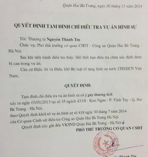 Quyết định tạm đình chỉ vụ án của Cơ quan CSĐT Công an quận Hai Bà Trưng.