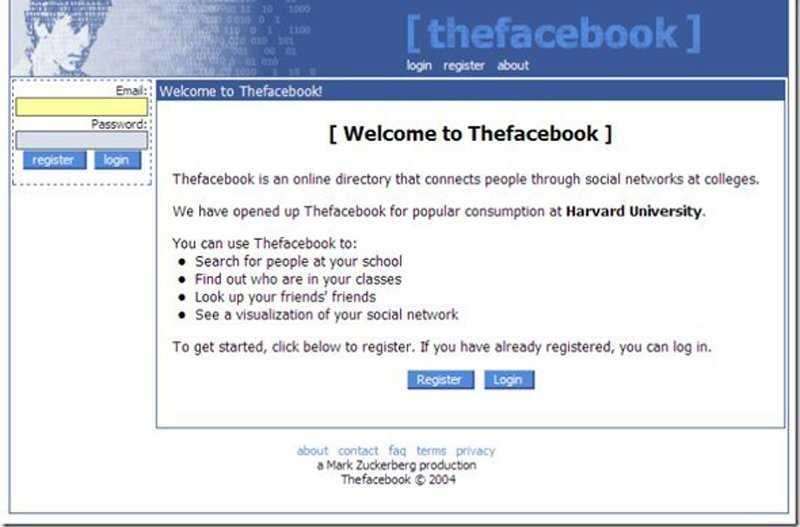 Đây là tên gọi đầu tiên TheFacebook. Mạng xã hội này thuộc nội bộ Đại học Havard và từ từ mở rộng ra các trường đại học khác