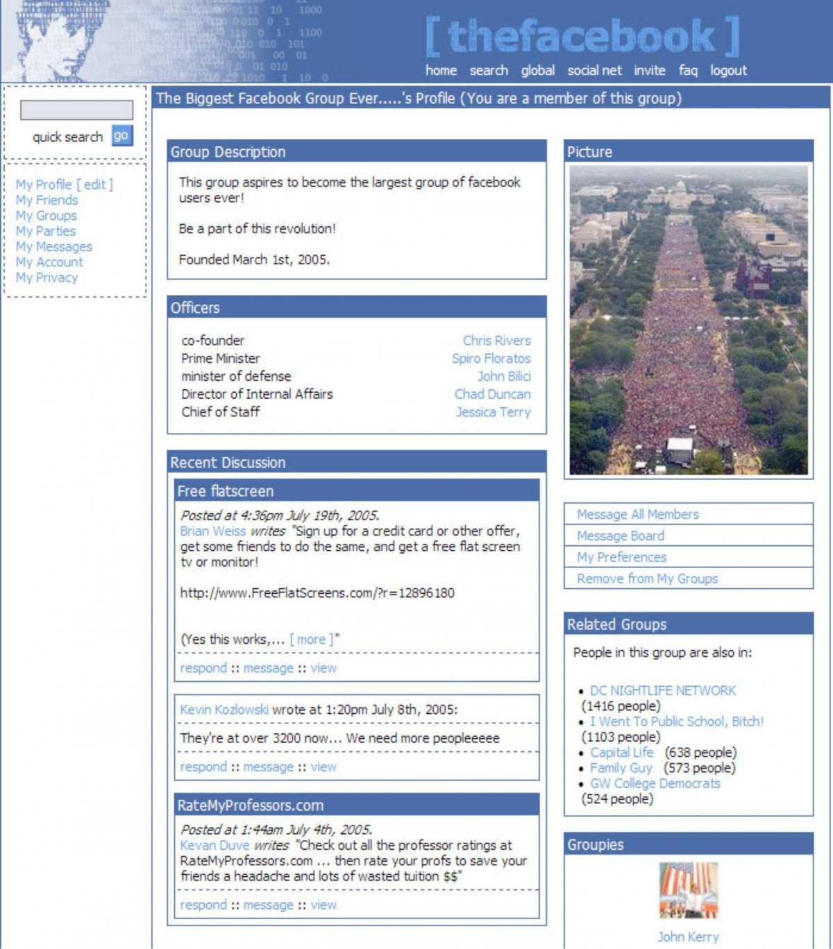 Đây là tất cả những gì chúng ta có thể thấy trên giao diện trang chủ của Facebook vào năm 2005