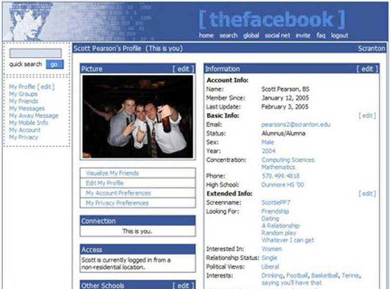 Trở lại với năm đầu tiên của Facebook, web cá nhân không có nhiều liên kết đến