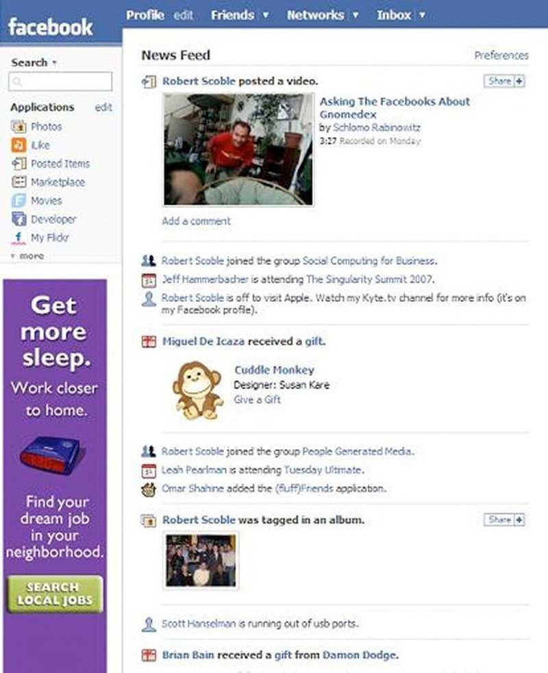 Giao diện trang chủ mới của Facebook vào năm 2006