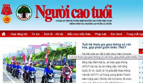 Giao diện trang tin tổng hợp www.nguoicaotuoi.org.vn
