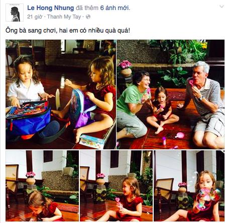 Ca sỹ Hồng Nhung chia sẻ trên trang cá nhân những hình ảnh hạnh phúc của gia đình khi ông bà nội từ Mỹ sang thăm hai bé Tôm và Tép.