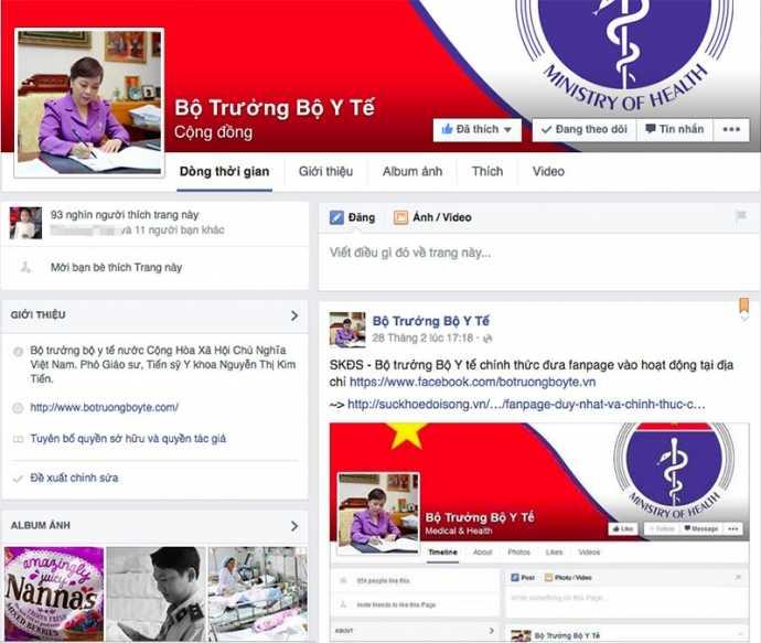 Fanpage của bộ trưởng Bộ Y tế